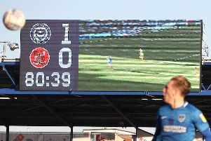 The big screen above the Milton End at Fratton Park. Picture: Joe Pepler