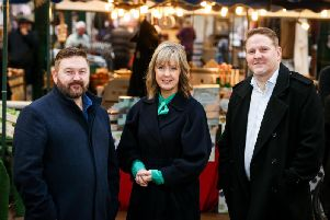 Spend It Like Stormont presenters William Crawley and Tara Mills with economist, Neil Gibson