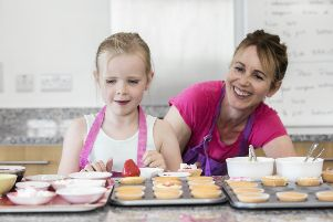 Mary-Anne Mackle of Wee Buns Cookery School in Moy showing Connie how to bake her own buns.