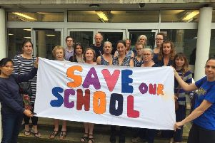 Campaigners calling for Broad Oak Community School near Heathfield to be saved outside County Hall
