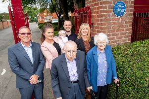 Connie's daughter Cynthia (right), together with four generations of her family, including baby Connie. Picture: John Aron.