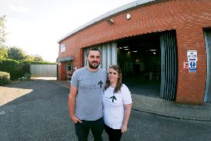 Darren and Heather outside the building in North Holme Road, Louth.