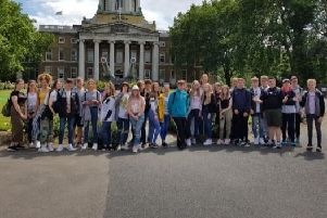 Pupils are pictured during their recent visit to London as part of their GCSE studies.