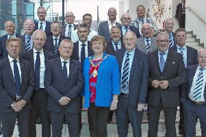 Mayor of Mid and East Antrim Council, Cllr, Maureen Morrow and Director of Operations, Philip Thompson, pictured with Officials of Ballymena Utd FC and Malmo FC including respective Chairmen, John Taggart and Anders Palsson.
