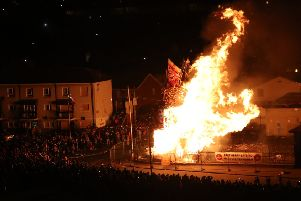 The main bonfire burns in the Bogside area of Londonderry on Thursday night