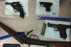 Four air pistols, 44 rifles and 15 shot guns were surrendered to police..