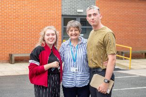 Outgoing head Heather Payne with Tom Massey and Gemma Foster at A-level results day last Thursday