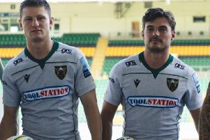 Fraser Dingwall and George Furbank in Saints' new away shirt (pictures: Northampton Saints)