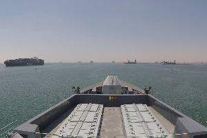 Portsmouth-based HMS Duncan arrives in the Gulf to accompany British ships. The Type 45 destroyer was in the area with Plymouth-based HMS Montrose in July. Picture: Ministry of Defence