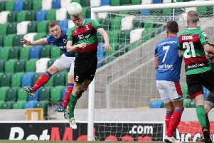 Action from Linfield v Glentoran at Windsor Park. Pic by Pacemaker.