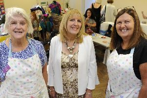 A bowel cancer fair to raise money for research has been held at The Church of the Resurrection in Drayton. From left, Shirley Boyd, organiser Lorraine Till and Kay Ryan. Picture: Ian Hargreaves  (140919-1)