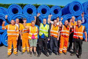 Management and staff at Polypipe in Horncastle celebrate the 40th anniversary - and  exciting news about expansion.