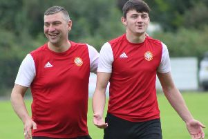 Portadown boss Matthew Tipton (left) and striker Lee Bonis during a recent appearance in a Laurelvale Cricket Club event. Pic by Portadown FC