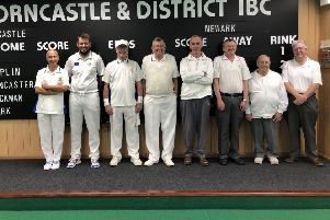 The two Men's home teams who competed in the Denny Plate, fromleft, are Paul Bark, Darren Trapmore, Norman Burton, John Scholey, Keith Jackman, Alan Kershaw, John Hoyles and Tracy Nunn.