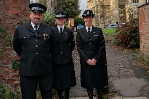 PCSO Nigel Wass, Jacky Barnsley and Inspector Sarah Constantine.