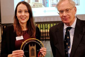 Alexa Stephens pictured with HRH The Duke of Gloucester.