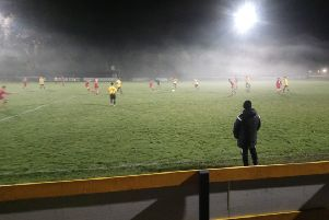 Racing Club Warwick boss Scott Easterlow watches on at a misty Townsend Meadow.