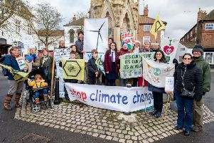 Some of the campaigners (including school pupils) who took part in the latest climate change protest in Horncastle Market Place last Friday.