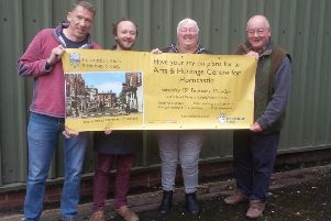 Volunteers from the Horncastle History & Heritage Society display a banner ahead of the Open Day on Saturday