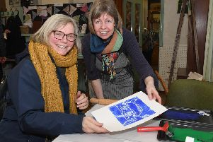 Hilary Waterfall with Horncastle Print Maker Joanne Pass.  Picture: David Dawson.
