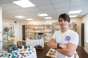 Joss Rushton at his new Elemental Crystals shop in Inverurie
