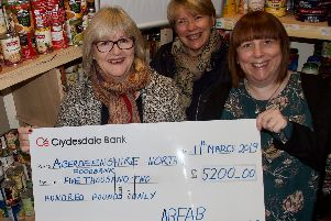 Jeannie Price and Louise McGregor hand over the cheque to foodbank manager Debbie Rennie.
