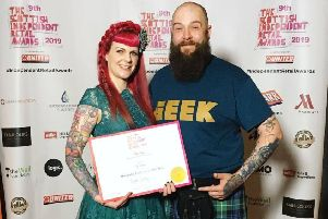 Geek Bothy owners Emma and Morgan Black at the Scottish Independent Retail Awards