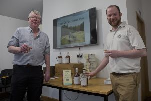 Duncan Harley with Michael Stuart at the launch of 'The Little History of Aberdeenshire'