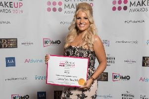 Samantha Banks with her Official Make Up award