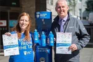 Gillian Hay of Scottish Water and Scarf's Thane Lawrie at the Aberdeen Top Up Tap 2