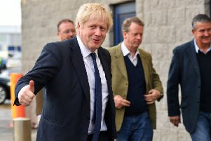 Boris Johnson beginning his visit to Aberdeenshire. Picture: Duncan Brown Photography
