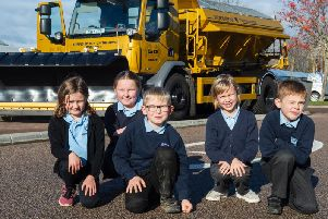 Pupils from Strathburn Primary School with Goldie the Gritter