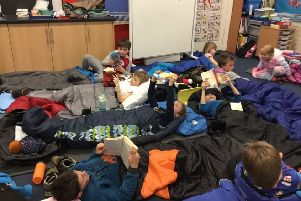 A group of Logie Durno Primary School pupils taking part in the Wee Sleep Out