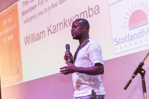 Innovator, author and Netflix star, William Kamkwamba speaking at the school
