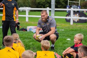 England international and Wasps player Brad Shields gave a coaching session to players at Old Leamingtonians
