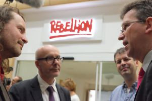 Rebellion has opened its new studio at Warwick Technology Park. From left: Jason Kingsley, Matt Western MP, Chris Kingsley, and Culture Secretary Jeremy Wright MP