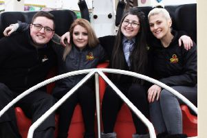 Aiming high with their careers at Fantasy Island - (from left) Isaac Turner, Heidi Watson, Jessica Moorehouse and Paige Harris. ANL-191101-141906001
