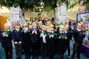 The launch of Get Hastings Reading. Amber Rudd MP meets children at Silverdale Primary Academy. Photo by Caitlin Lock.