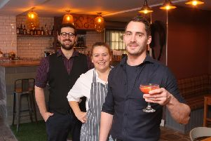 Staff members Will Underwood, Marrianne McDonald and Michal Peterka at the opening of the bar in September