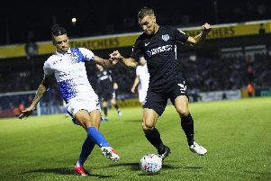 Lee Brown in action against Bristol Rovers at the Memorial Stadium earlier this season. Picture: Joe Pepler