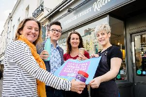 Business owners, who are involved with the Plastic Free Leamington and Warwick Campaign.'Pictured: Jo Lally, Cllr Andrew Thompson representing Alice Ellis, Sarah Kenny-Levick and Lydia Snape.