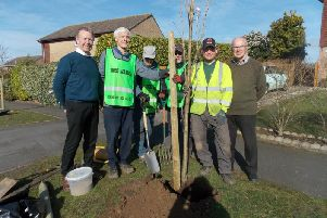 From left to right: Mark McGovern (resident), Peter Burnell, Philip Harris, Stuart Powney (Tree Wardens), Jon West (WCC) and John Powell (resident). Photo supplied.