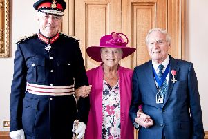 Cllr Gerry Guest and his wife Audrey with  the Lord Lieutenant of Warwickshire Timothy Cox. Photo by Gill Fletcher.