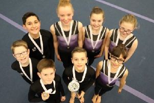 The 1066 Gymnastics team which won a gold medal at the Southern Tournament in Bracknell
