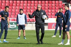Cobblers boss Keith Curle on the training pitch