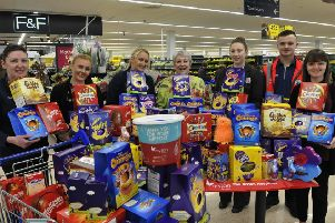 Taken at Tesco Superstore, Warwick.  Donna Read, Amy Watt, Mellissa Hazell, Anita Burrows (Myton) Emma Williams,  Will Davies and Sophie Duncan (Myton) Photo by Peter Realf Photography.