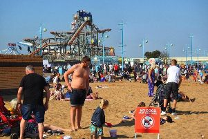 Visitors flocked on to the beach in Skegness. Photo: Julie Sadler Photography ANL-190422-065655001