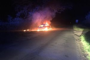 The car fire. Photo by Wellesbourne Fire Station.
