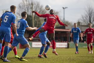 Goalmouth action in the Tudors' clash with Truro City earlier this month. (File picture by Marc Keinch).