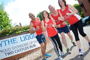 Some of the Blythe Liggins team in training for the Two Castles in June. (l-r) Arvi Samra, Lois Harrison, Paul England and Claire Kirwan.
